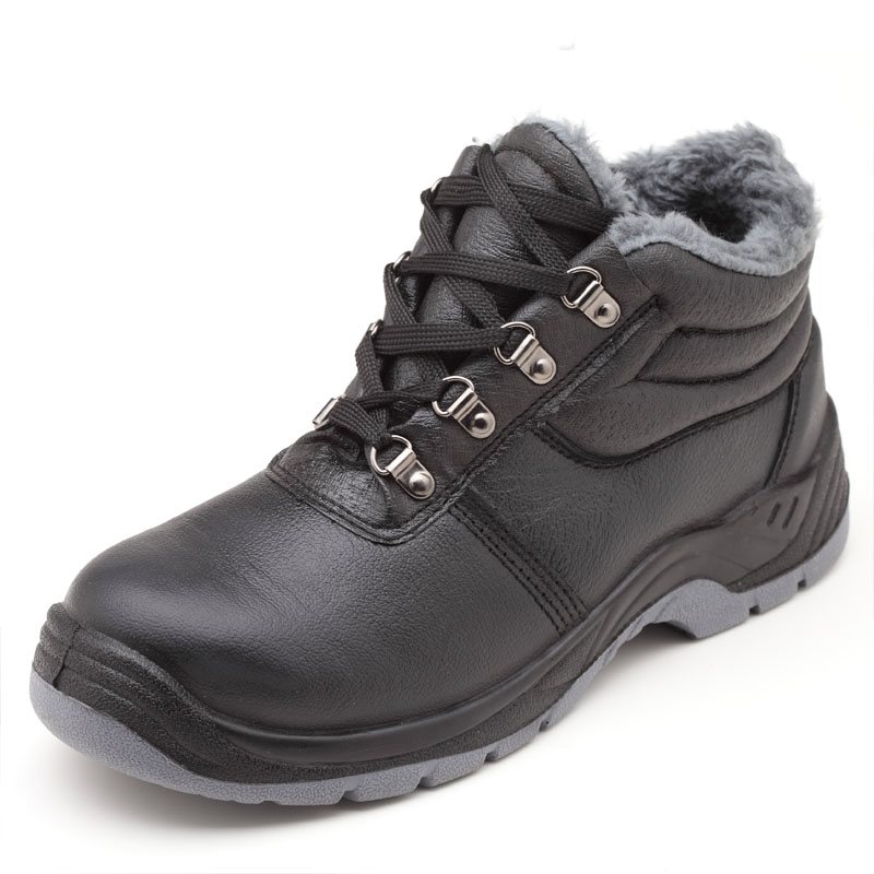 Large Size Men's Fashion Warm Plush Sneakers Steel Toe Caps Work Safety Cotton Shoes Soft Leather Security Winter Snow Fur Boots