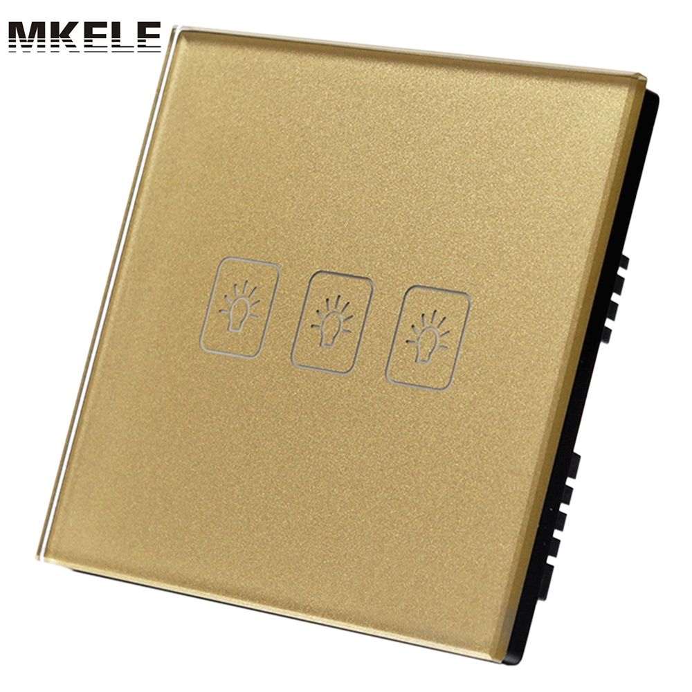 UK Standard Touch Switch  Wall Switches Electrical For Lamp 3 Gang 1 Way Golden Light Glass Panel Wall Switches Electrical 3gang1way uk wall light switches ac110v 250v touch remote switch