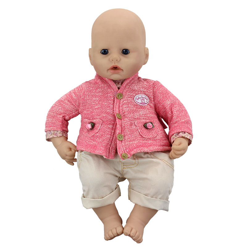 Dolls suit Wear for 46cm Zapf Baby Annabell Doll 18 Inch Dolls Clothes pink wool coat doll clothes with belt for 18 american girl doll