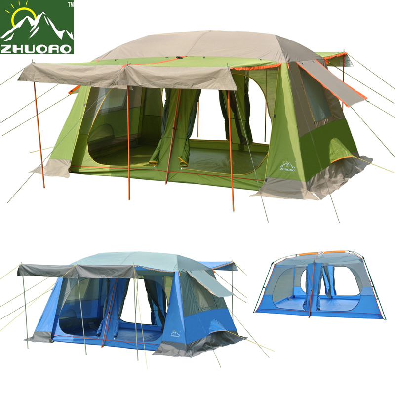 Zhuoao Upgrade materials 8-10persons 2rooms Super large & super value family outdoor camping tent/party tent include 3 poles zhuoao outdoor 3 4persons pergola canopy tent awning large outdoor rain uv shade with rain cover include one set front pole