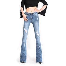 Женские длинные джинсы с дырками большие размеры 24 32 2019