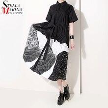 Новинка, корейский стиль, летняя миди черная рубашка в горошек, платье с отворотом, ТРАПЕЦИЕВИДНОЕ, длиной до колен, женские вечерние платья для клуба, женская одежда 5128