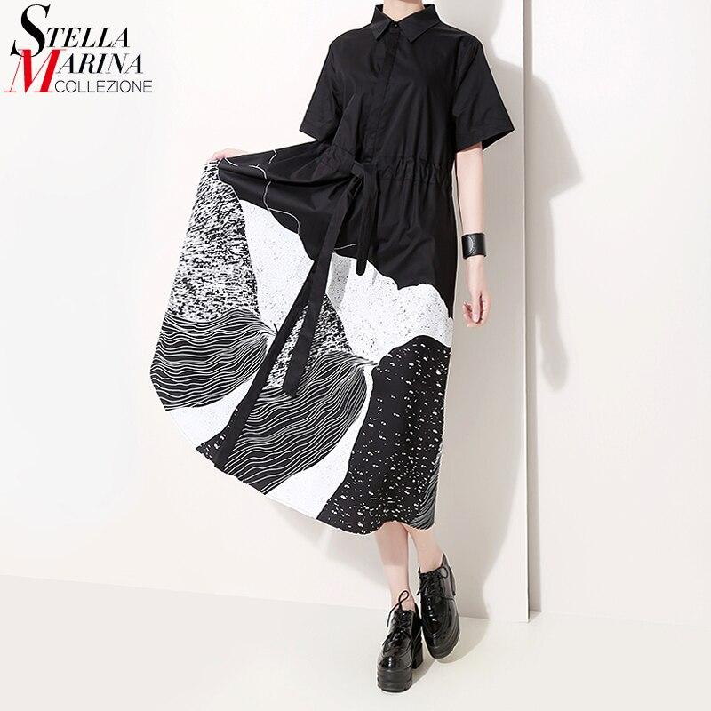 New 2019 Korean Style Summer Midi Black Dotted Shirt Dress Lapel A Line Knee Length Lady Party Club Wear Dresses Robe Femme 5128