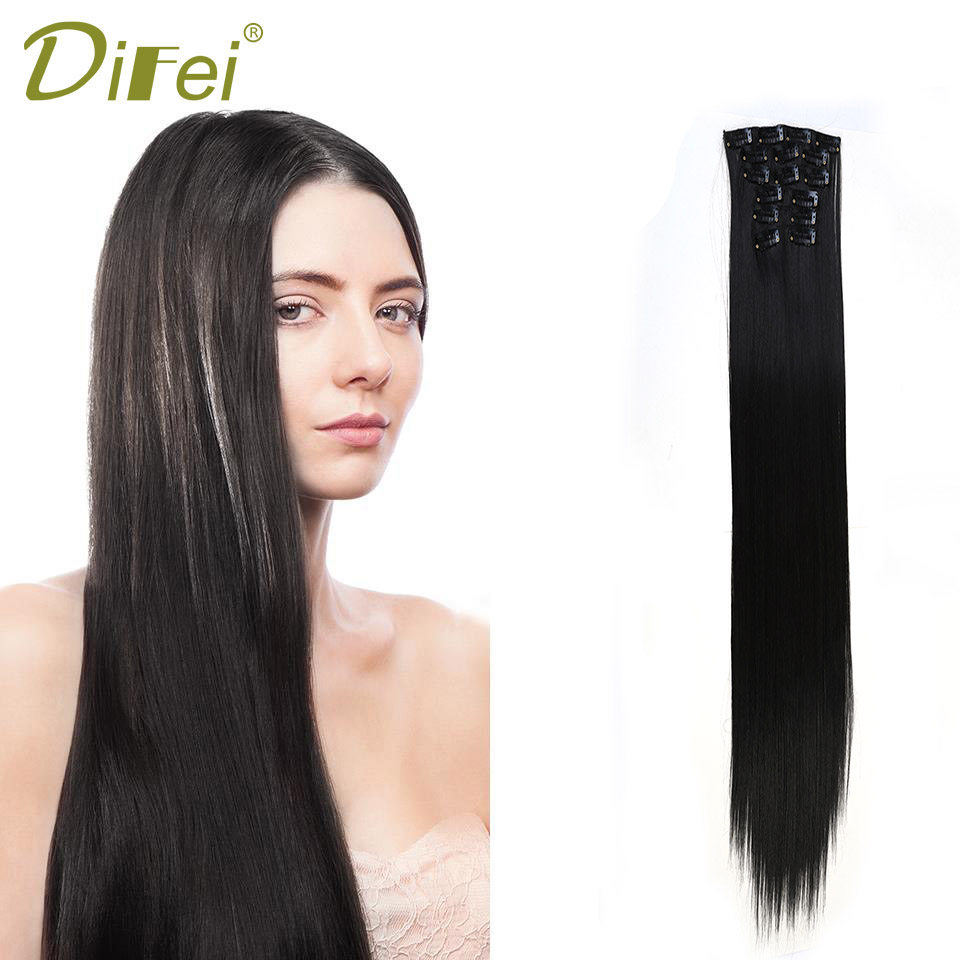 DIFEI 24 Inch Hair Extension Long Straight 16 Clip Extension Synthetic High Temperature  ...
