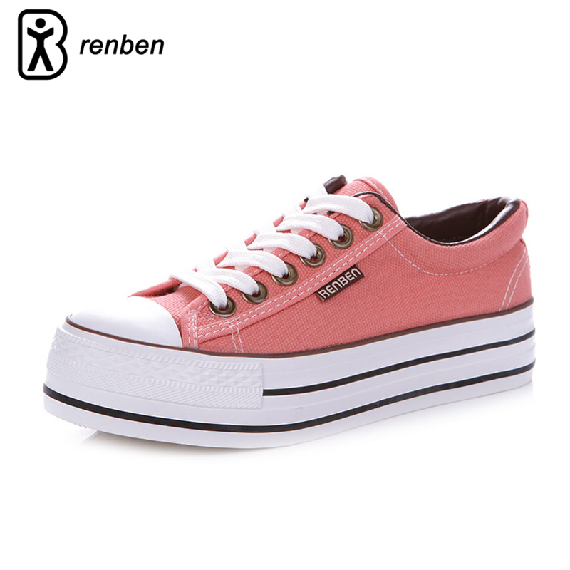 RenBen Canvas Platform Casual Shoes Women Fashion Breathable Pink Pump Female Shoes Woman Durable Oxford Footwear zapatos mujer new brand black white vintage women footwear lace up casual oxford flat shoes woman british style breathable zapatos mujer