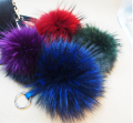 Free shipping 12cm Charm Fluffy fox  Raccon fur ball pom poms key chains plush keychain car key ring Bag Purse Pendant