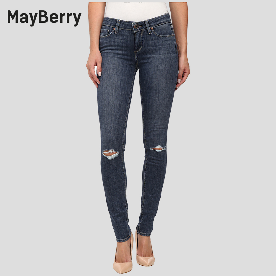 MayBerry Jeans Women's Skinny Jeans  Ripped  Mid-Rise distressed Prima Ballerina collection Indigo blue 88164