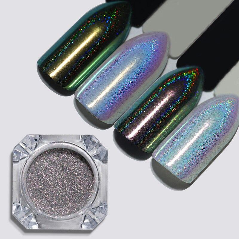 BORN PRETTY 0 2g Chameleon Holographic Nail Powder Laser Rainbow Manicure Chrome Pigment Nail Art Decoration