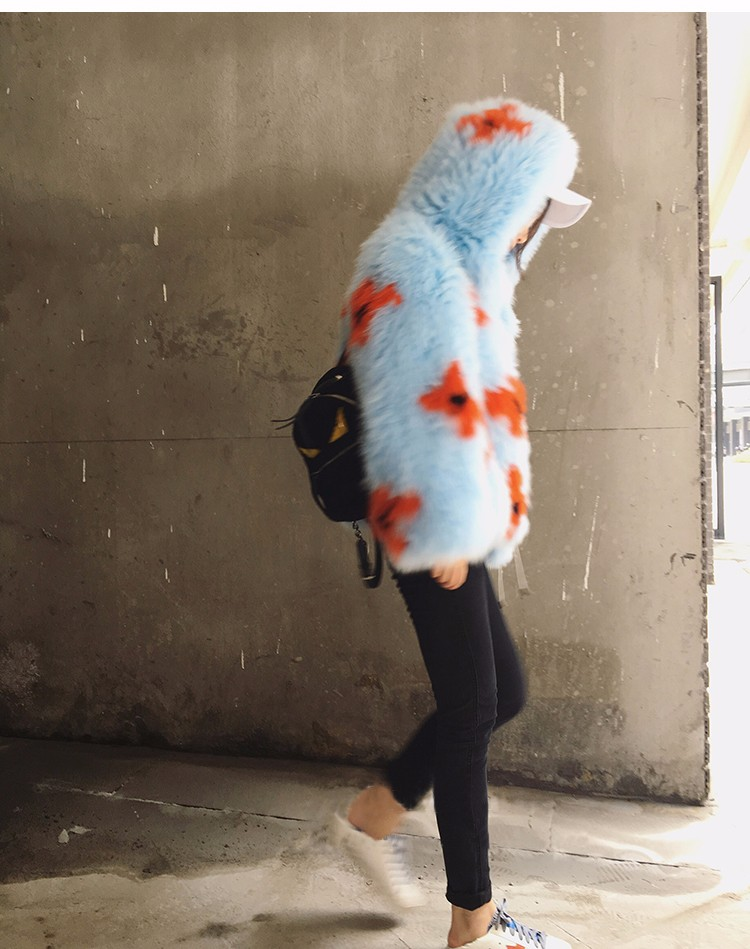2016 New Arrival 100% Natural Fox Fur Knitted Coat With Hood,Women's Real Fox Fur Outerwear Hooded BE-1663 EMS Free Shipping 5