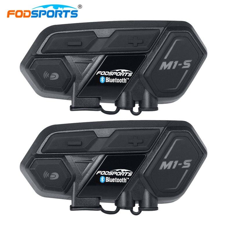 Fodsports 2 piezas M1 S motocicleta intercomunicador grupo casco auricular Bluetooth manos libres impermeable Mortorbike Interphone Moto Garnish