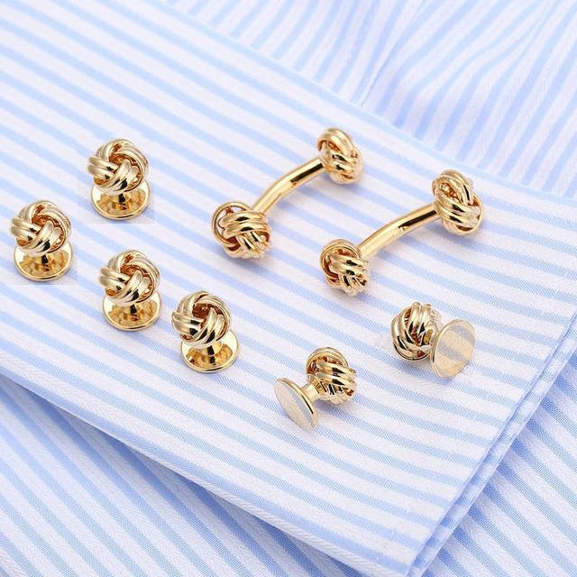 Vagula Brass Knot Cufflinks Collar Studs 8pcs Jewelry Top Tuxedo Cuff Link 531