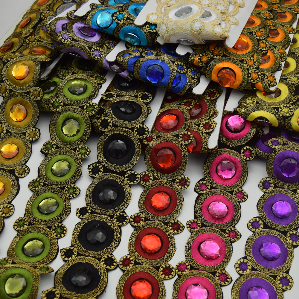 5yards  6Color Round  Metallic Embroidered African beaded Lace Trim Venise Applique Motif Sew Size 2''