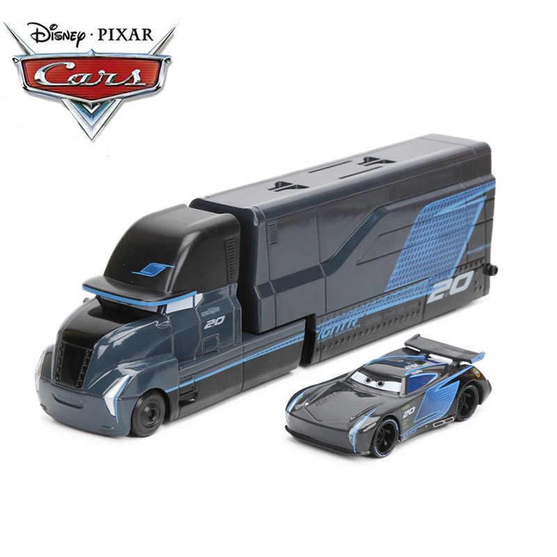 Игрушки Disney Pixar, персонажи мультфильма «Тачки 3» — Молния МакКуин, трейлер Мак, Джексон Шторм, модели машин 1:55 с литым корпусом, игрушки размером 23 см из металлического сплава