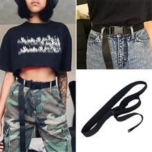 Модный длинный нейлоновый ремень для женщин, повседневный черный холщовый ремень Harajuku, Одноцветный эластичный пояс с пряжкой, уличная одежда, длинные пояса, пояс