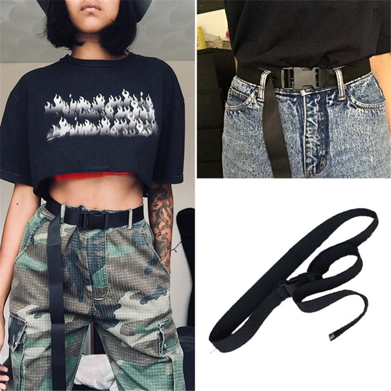 2019 Fashion Long Nylon   Belt   Women Casual Black Canvas   Belt   Harajuku Solid Color Buckle Elastic Streetwear Long   Belts   Waistband