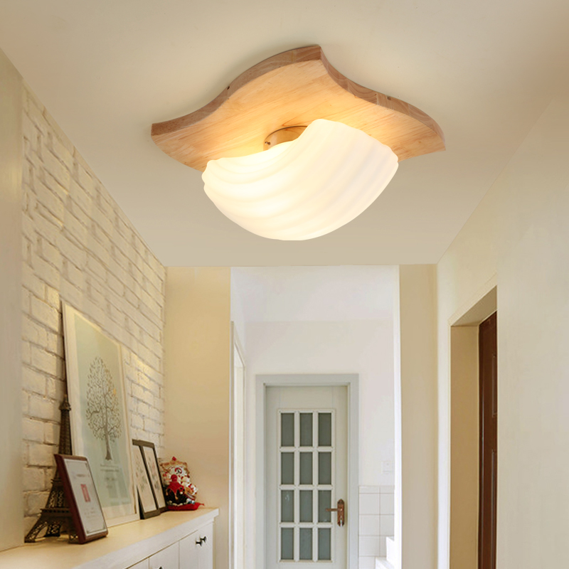 The Nordic minimalist led ceiling lamp aisle wooden balcony Ceiling Lights wood bedroom lamp warm wood lighting study YA72615