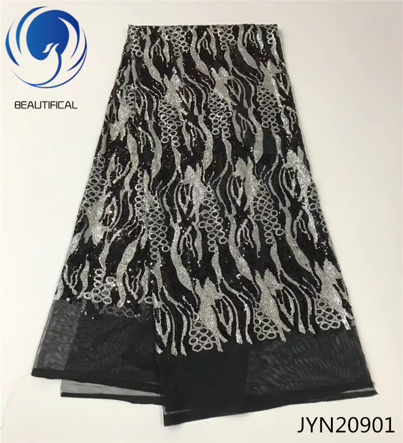 BEAUTIFICAL Afican french lace fabric Special offer Black Sequins tulle mesh lace with embroidery Hot sale african fabric JYN209-in Lace from Home & Garden    1