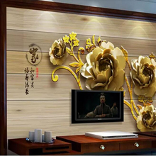 beibehang papel de parede 3d mural Custom home and rich embossed peony flower vi