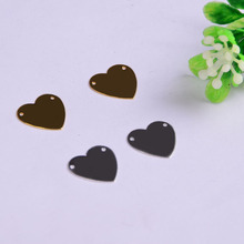 50pcs/lot 12.7*13*0.4mm  copper material gold silver blank heart charm pendant accessories for bracelet DIY jewelry making