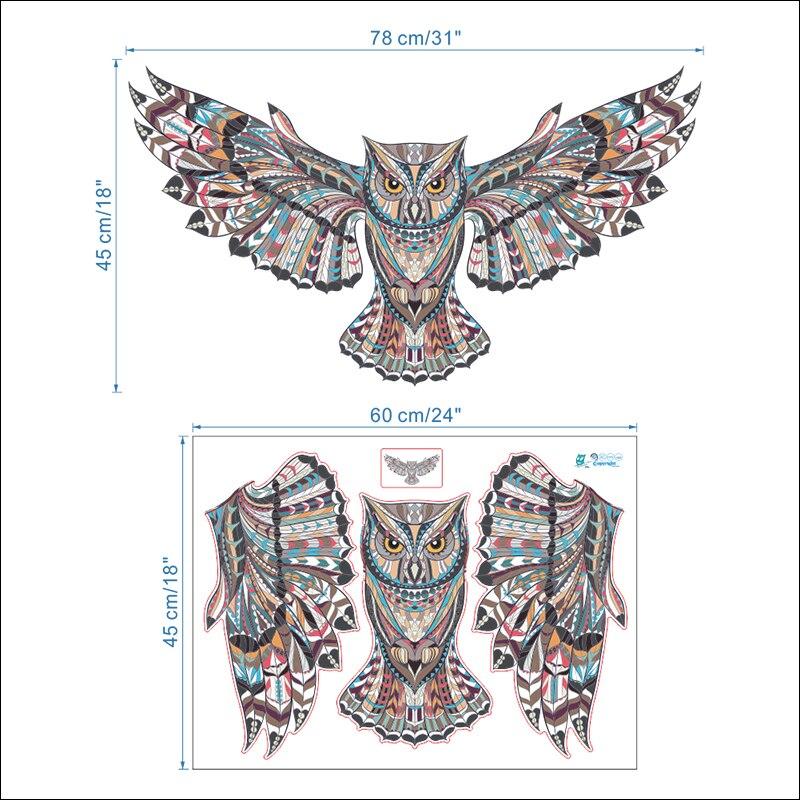 Terbang Burung Hantu Dekoratif Stiker Dinding Untuk Ruang Tamu