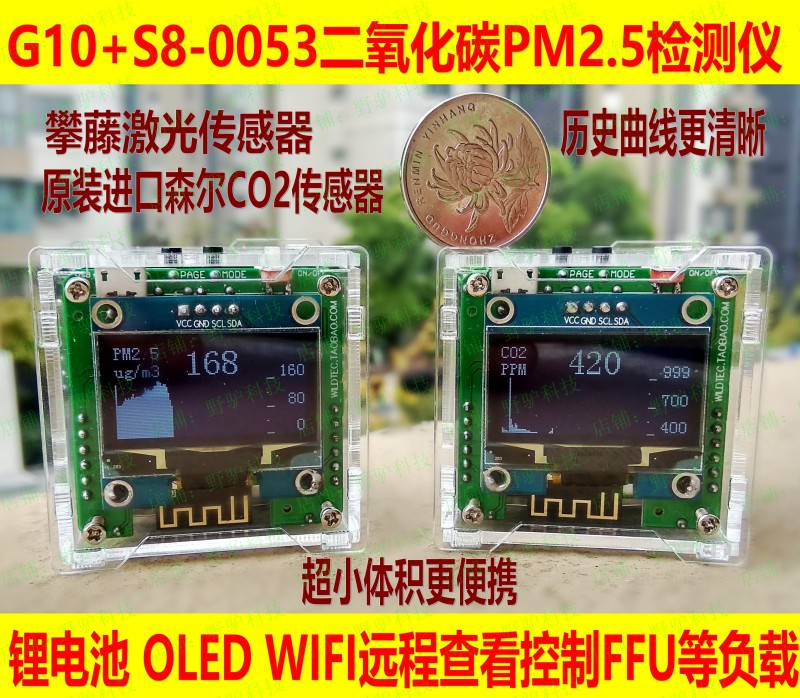 DIY PM2.5 CO2 carbon dioxide laser akebi formaldehyde air detector, WIFI air remote control 9999ppm carbon dioxide co2 monitor detector air temperature humidity logger