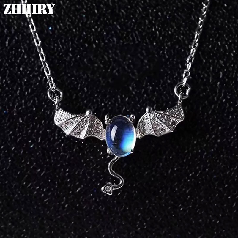 ZHHIRY Women Real Natural Moonstone Gemstone Solid 925 Sterling Silver Necklace Pendant For Ladies Girls Bat Shape Fine Jewelry black acrylic bat shape pendant necklace