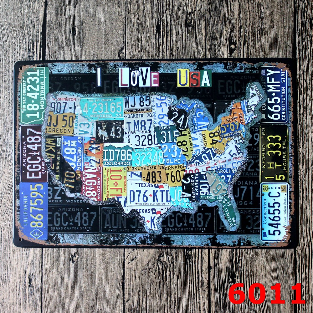 Car sticker design shop - American Map Design Metal Wall Sticker Iron Plaque Pub Wall Sticker House Tin Signs Shop Decor