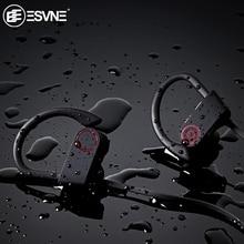 ESVNE IPX7 wodoodporna 5.0 Bluetooth słuchawki z redukcją szumów radio hifi słuchawki bezprzewodowe zestaw słuchawkowy dla aktywnych słuchawki douszne do telefonu