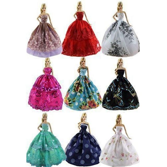 6PCS LeadingStar Wedding Dress for Barbie Doll Elegant Lace Multi Layers Wedding Dress For Barbie Doll Luxury Floral Doll Dress