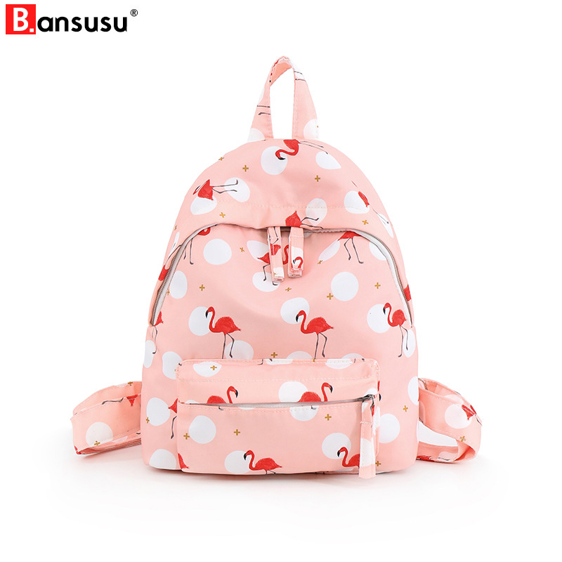 Women Backpacks Preppy Style Flamingo Printing Backpack Waterproof Nylon Harajuku School Bag For Teenager Girl Small