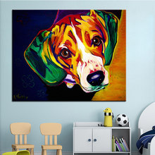 Large size Print Oil Painting Wall painting beagle Home Decorative Wall Art Picture For Living Room paintng No Frame(China)