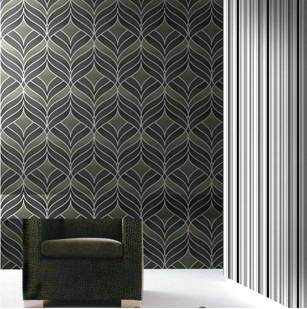 Buy modern silver wallpaper textured grey for Silver wallpaper for walls