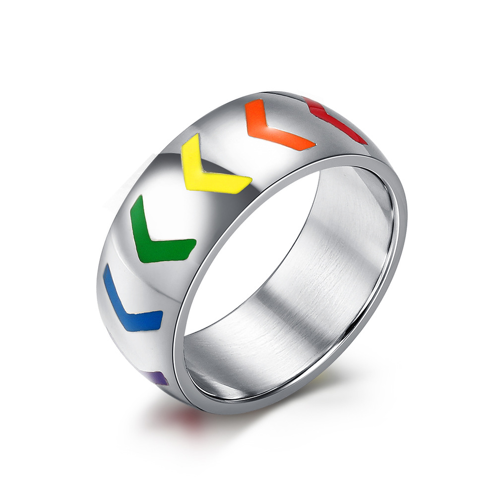 8mm stainless steel ring for women men resin arrow rainbow wedding rings love gay lesbian - Gay Mens Wedding Rings
