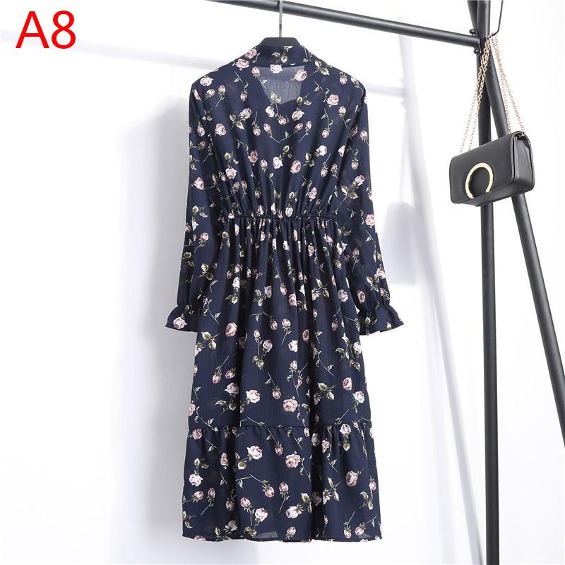 Korean Black Shirt Vestidos Office Polka Dot Vintage Autumn Dresses Women Winter Dress 19 Midi Floral Long Sleeve Dress Female 35