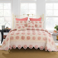 CHAUSUB Handmade Knitted Bedspread Sets 5pcs Cotton Crochet Yarn Bed Cover Pillowcase Cushion Cover King Size Lace Coverlet