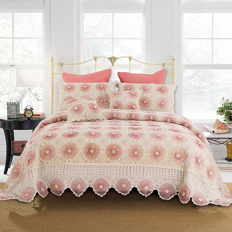 CHAUSUB Main Tricoté Couvre-lit Ensembles 5 pcs Coton Crochet Fil Lit Taie D'oreiller Coussin Couverture King Size Couverture De Lit En Dentelle
