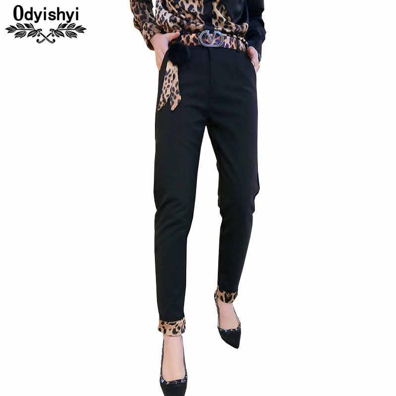 2019 ฤดูใบไม้ผลิผู้หญิงกางเกงเกาหลีสีดำกางเกงดินสอกางเกงสบายๆยืดกางเกงแฟชั่นผู้หญิงเสือดาวเย็บกางเกง HS685