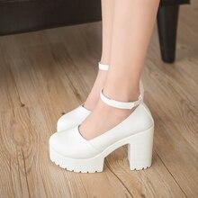 2019 new spring autumn casual high-heeled shoes sexy ruslana korshunova thick heels platform pumps Black White ladies shoes