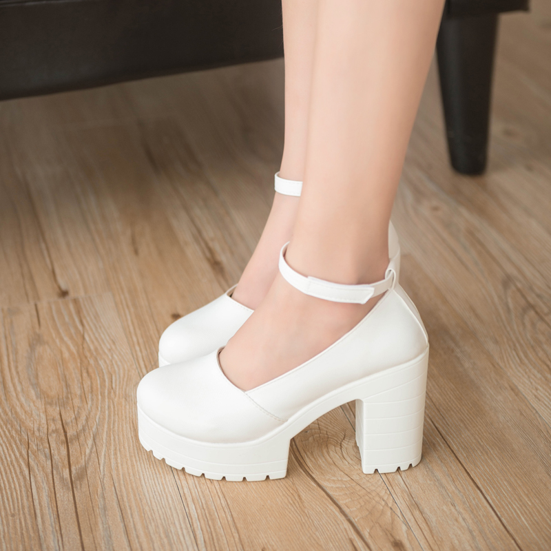 2019 New Spring Autumn Casual High-heeled Shoes Sexy Ruslana Korshunova Thick Heels Platform Pumps Black White Ladies Shoes