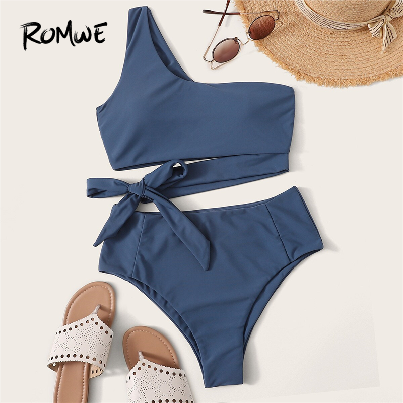 Romwe Bikinis-Set Swimwear Bathing-Suit One-Shoulder-Top Two-Piece High-Waist Women Bottoms