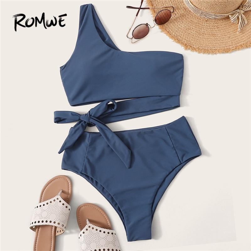 Romwe Sport Bikinis Set One Shoulder Top With High Waist Bikini Bottoms Two Piece Bathing Suit Women 2019 Summer Sexy Swimwear