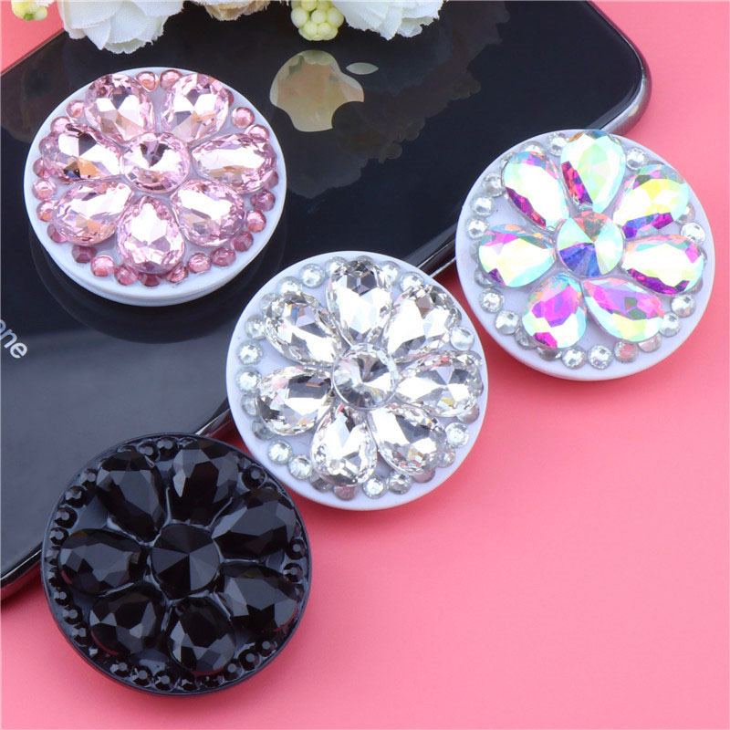 Crystal Diamond Mobile Phone Holder Stand Finger Ring Bracket Extensible Mount For IPhone X XS XR 8 7 6s Samsung Xiaomi Huawei