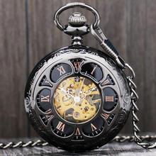 Роскошные механические карманные часы в стиле стимпанк серебристые/черные