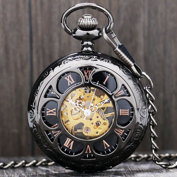 Luxury Steampunk Mechanical Pocket Watch Silver/Black Hollow Flower Steel Hand Wind Men Women Pendant Fob Chain Birthday Gifts golden black sliver antique hollow automatic mechanical pocket watch fob chain hand winding full steel sculpture for men wome