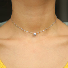 simple delicate thin silver chain girl women tiny single stone cz 925 sterling silver bezel cz necklace cute(China)