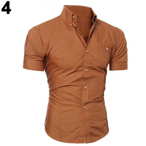 bf9f3a43c40 ... Мужская рубашка деловая Роскошная рубашка с отворотом на пуговицах  мужская футболка с коротким рукавом Повседневная однотонная ...
