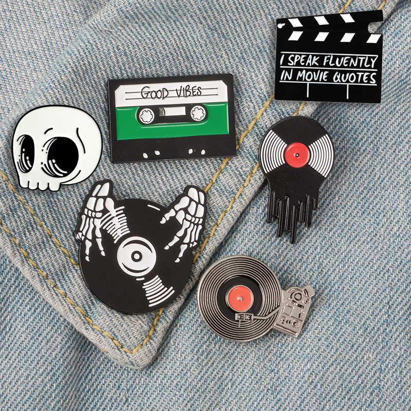 Punk Người Yêu Âm Nhạc Pin Đồng Hồ Làm DJ Phông Ghi Người Chơi Men Pin Huy Hiệu Băng Lưng Chân Trâm Cài Áo Sơ Mi Túi Mát Gothic bộ Trang Sức