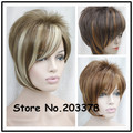 Perruque Women Girl Lady Synthetic Hair Short Side Part Blonde Wigs With Bangs Smart Hair Styles For Pixie Cut Cosplay Wigs