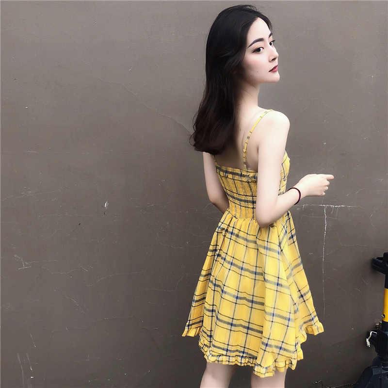 Сексуальное богемное пляжное платье женская одежда 2019 Лето Спагетти ремень спинки клетчатое платье женские платья Сарафан Vestidos MY2497