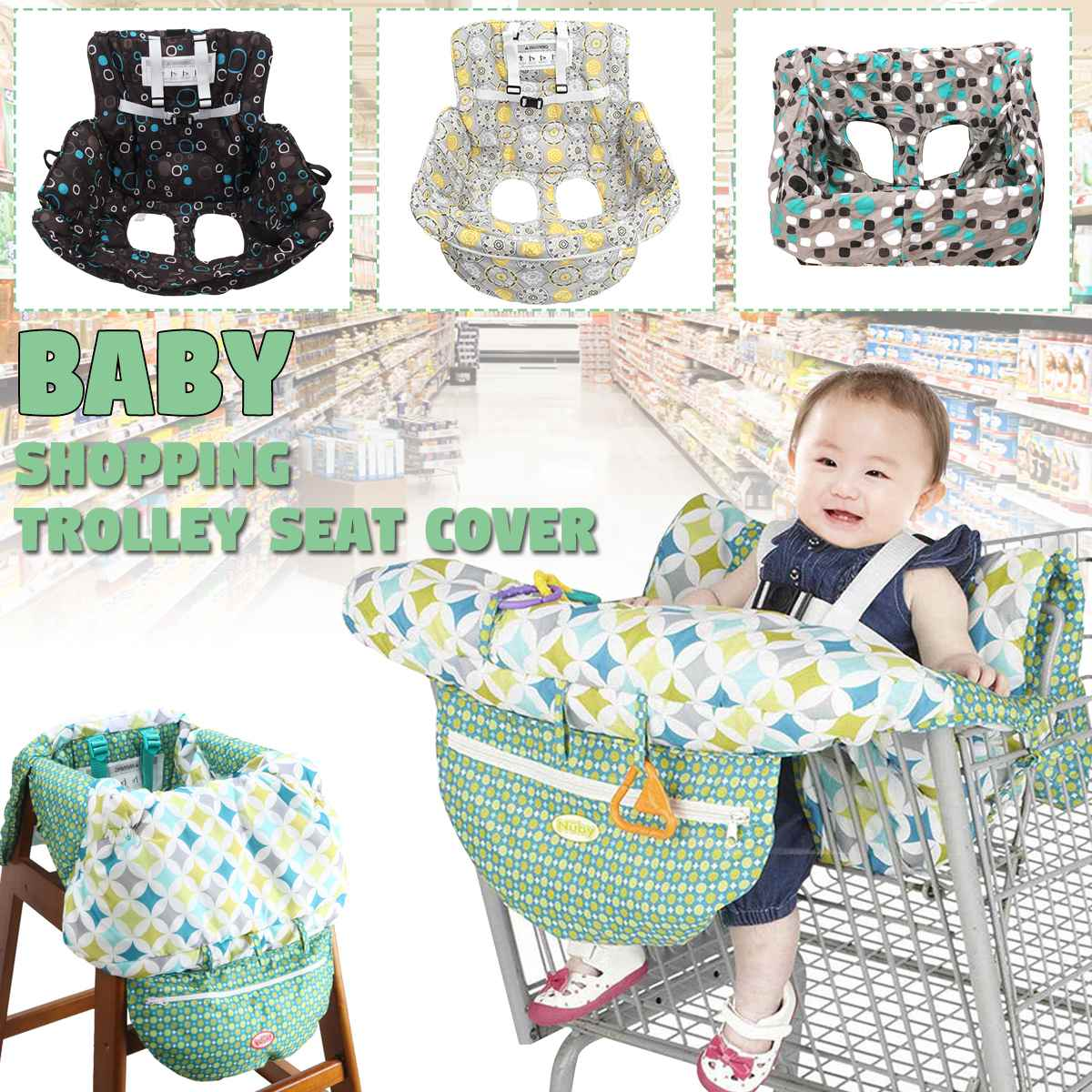Per 2-in-1 Shopping Cart Cover Polka Dot High Chair Cover Protective Cushion Full Safety Harness Universal Fit Foldable and Washable
